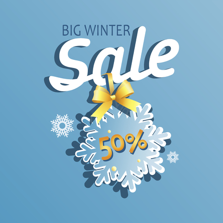 Big winter sale. Message with a snowflake. Light blue background. Emblem, poster, banner for a good deal. Çizim