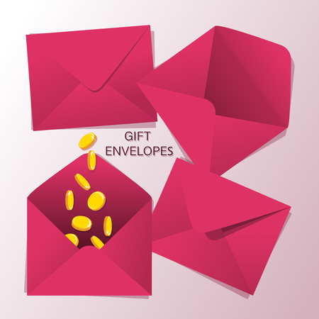 GIFT ENVELOPES. Golden coins. Set of red-pink envelopes on a light background. Red envelope with money as a gift. Hongbao.