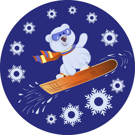 Polar Bear on a snowboard. Winter sport. Blue background with snowflakes. Design for printing on fabrics, paper, packaging materials for sports equipment. Ilustracja