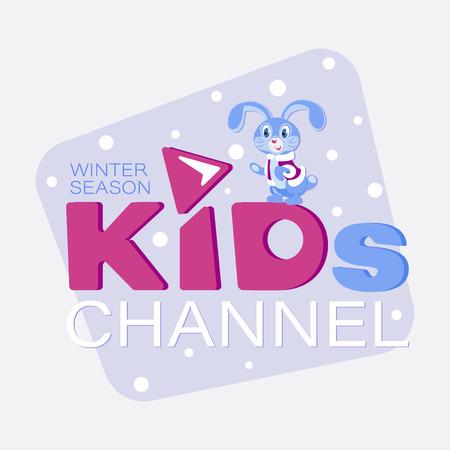 Emblem for KIDs. Winter season. Cartoon style. The inscription for the video channel, blog, children's shop, studio.