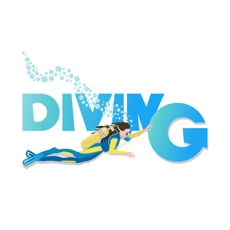 DIVING. Young woman in diving suit and fins swimming underwater with scuba. Vector cartoon illustration isolated on white background. Horizontal layout.
