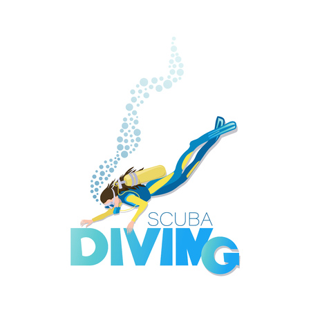 SCUBA DIVING. Swimming underwater with an aqualung. Poster with an image on a white background. Фото со стока - 115857516