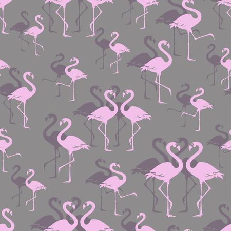 Flamencos rosados. Parque zoológico de aves. Patrón sin costuras. Superposición de aves zancudas exóticas. Bandada de extravagancia en el parque de aves grises. Flamencos caminando.