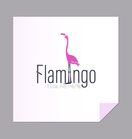 Flamingo Logo, emblem. The environmental site of the posters are inscribed with a pink bird; Illustration