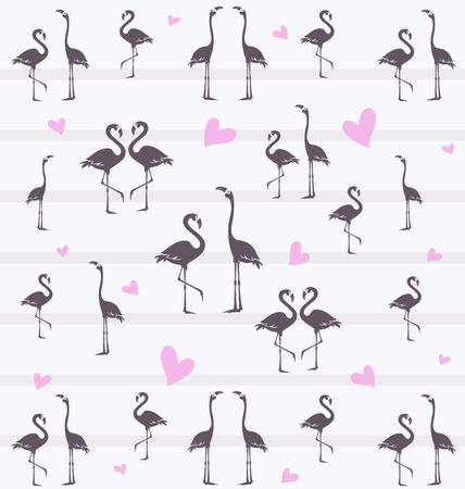 Tropical flamingo. Template. Background image of a flock of birds.  イラスト・ベクター素材