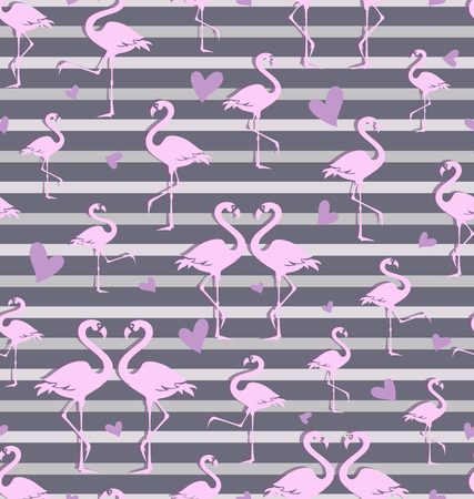 Flock of tropical flamingos. Seamless pattern. Park of birds. Exotic birds on a striped gray background.