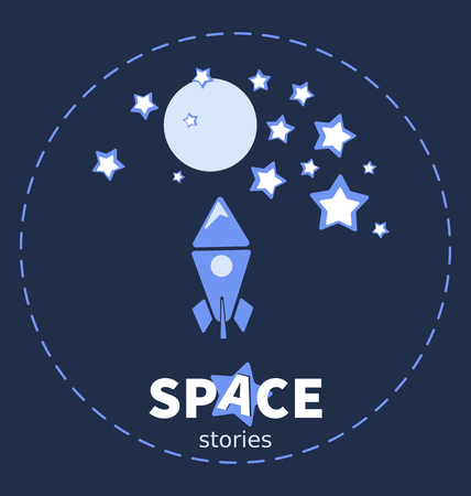 Flying rocket. Planet and stars. Design emblem with the inscription. Space stories. Development of a screen saver, emblem, logo for a children's site, video channel, blog, shop, studio.