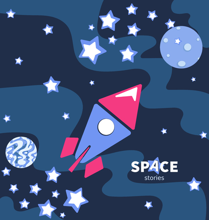 Rocket flying in space. Planets and stars. Poster with the inscription. Space stories. Development of a screen saver, emblem, logo for a children's site, video channel, blog, shop, studio.