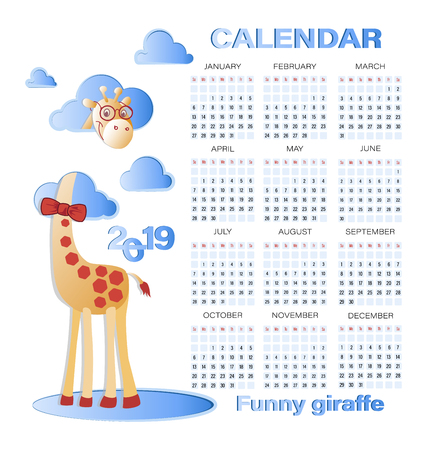 Funny giraffe in the clouds and CALENDAR 2019. Calendar from sunday to saturday.