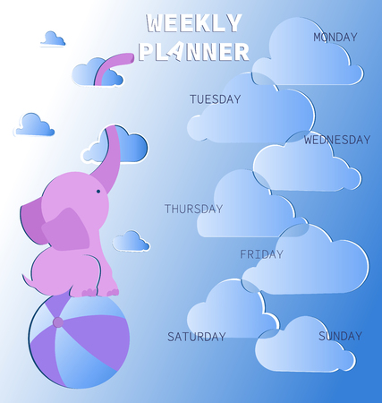 Weekly planner with cute pink elephant in the clouds. Schedule. Baby organizer with days of the week and a place for text. Notes frame. Illustration