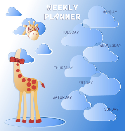 Weekly planner with a giraffe in the clouds. Schedule. Baby organizer with days of the week and a place for text. Notes frame. Illustration