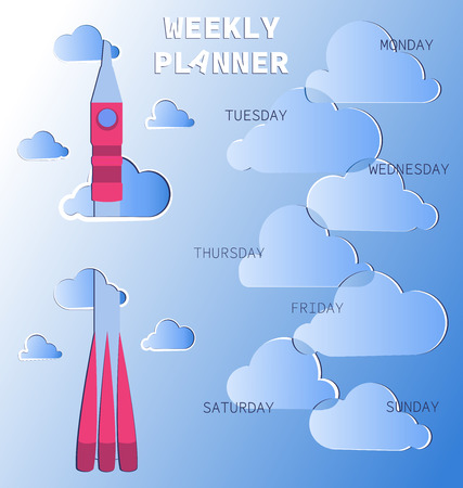 Rocket flying through the clouds. Weekly planner. Schedule. Baby organizer with days of the week and a place for text. Notes frame.