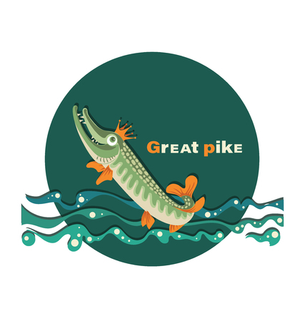 Great pike. Pike in the crown. Royal fish.The emblem with the inscription. Great pike. Design for the club of fishing enthusiasts, for printing on fabrics or paper. Vecteurs