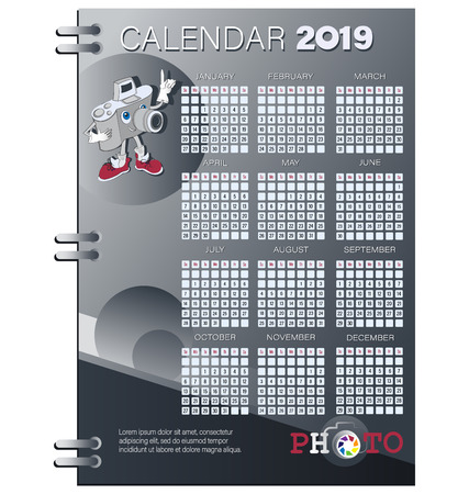 Calendar planner for 2019. Funny CAMERA and logo. The week starts on Sunday. Set of 12 months. Template for printing vector stationery.