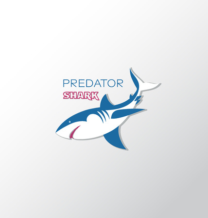 Predator. Wild attacking shark. Logo, emblem. Design for textiles, thematic site, diving club and spearfishing.