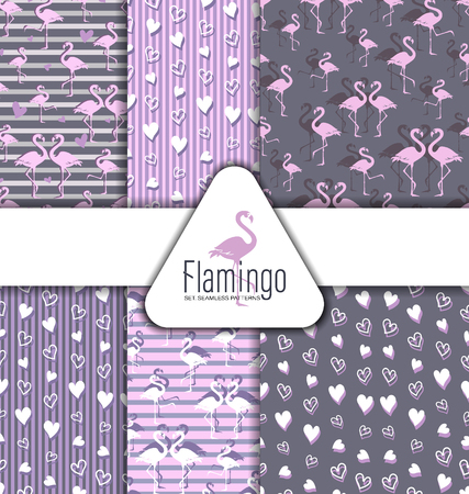 Flamingo and hearts. SET. SEAMLESS PATTERNS. Flock of tropical flamingos. Park of birds. Striped and gray background.
