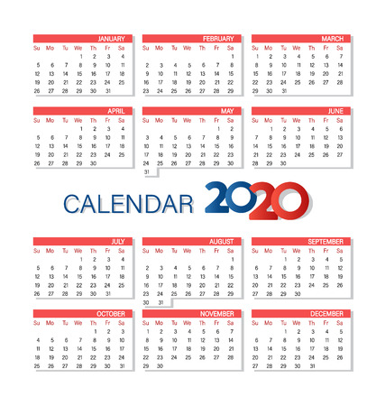 Calendar 2020 year simple style. Week starts from Sunday. Vector template. Set of 12 Months.