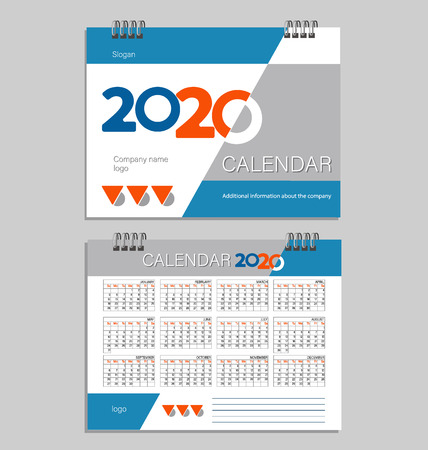 2020. Desk calendar template. Set of 12 months calendar. Planner. Week starts on Sunday. Stationery design. Advertisement. Business brochure.  イラスト・ベクター素材