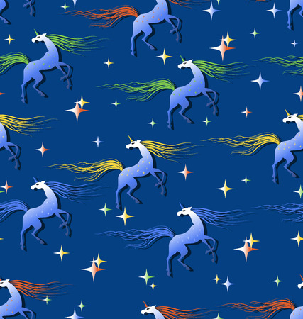 Fabulous unicorns surrounded by shining stars. Seamless pattern. Beautiful fantasy background. 矢量图像