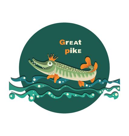 Grand brochet sur les vagues. Brochet dans la couronne. Poisson royal. L'emblème avec l'inscription. Design pour le club des passionnés de pêche pour impression sur tissus ou papier.