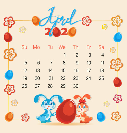 Festive April with cute Easter bunnies. Calendar 2020. Easter eggs and flowers 向量圖像