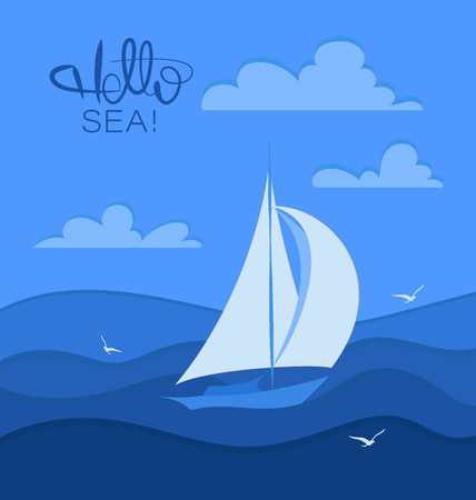 Hello, sea. Sailboat and seagulls. Stylized sailboat on the waves. Design for banner, poster, print. Фото со стока - 120763802