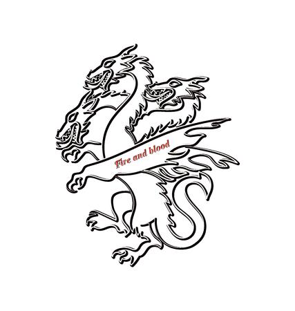 Contorno del dragón de tres cabezas. Animal mítico. Elemento de diseño gráfico para impresión en papel o textil.