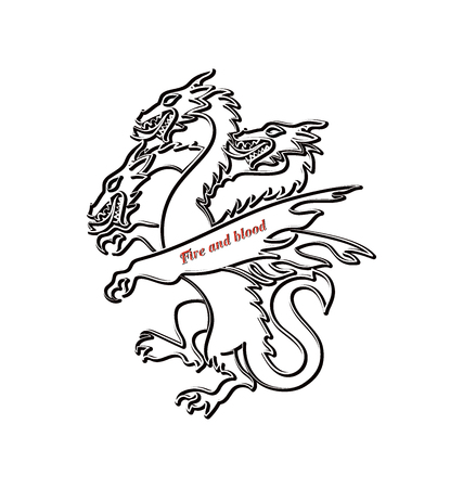 Contour of the three-headed dragon. Mythical animal. Graphic design element for printing on paper or textile.