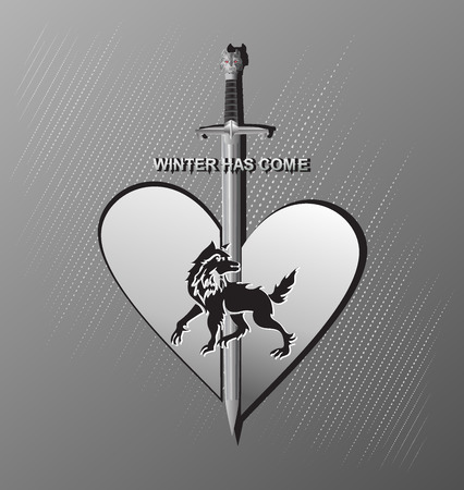 Wolf, preserving the section of the heart. Military sword, medieval weapon. Flat style. Vintage hand drawn design elements.