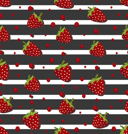 Strawberry berries on a striped background. Seamless pattern. Design for textiles, tapestries, packaging, bags, wallet, products for children.