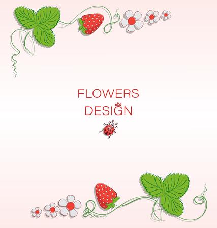 Ladybug, flowers and strawberries. Flower design. Banner design, poster, greeting card. Ladybug on a light background.