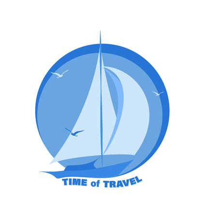 Sailing yacht. TIME TRAVEL. Emblem, logo, sticker. Sailboat and seagulls. Design for printing on fabric or paper. Иллюстрация