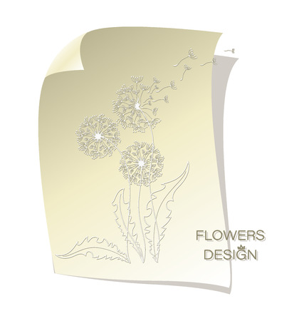 Delicate dandelions. Flying in the wind. Flower design. Banner, poster, card with silhouettes of dandelions on a sheet of paper. Flying parachutes dandelion.