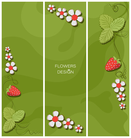 Strawberry triptych. Flower design. Banner, poster, greeting card design. Space for text, stylized flowers on an abstract background.