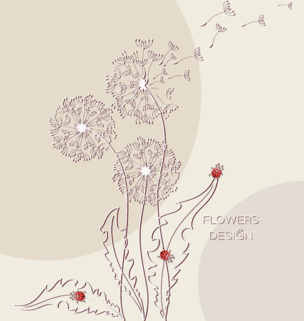 Dandelions and ladybugs. Flying in the wind. Flower design. Banner, poster, card with dandelion silhouettes on abstract background. Flying dandelion parachutes. Иллюстрация