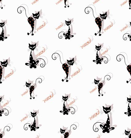 Funny cartoon black cats. Seamless pattern. White background.