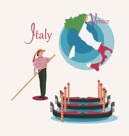 Mapa de Italia. Venecia. Góndolas y gondolero. Colocar. Invitación para viajar a Italia. Profesión masculina italiana. Elementos de diseño para cartel turístico. Imagen aislada sobre fondo blanco.