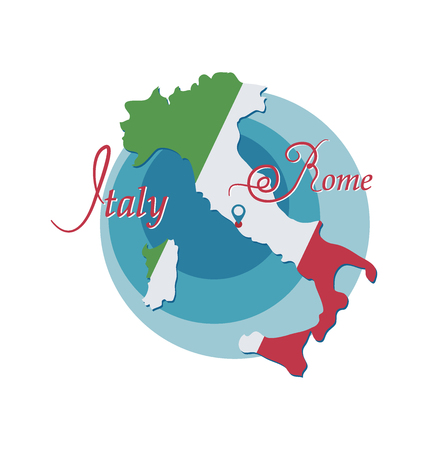 Italy map is painted in colors of a flag. Rome. Emblem Invitation to travel in Italy, Rome. Design elements for tourist poster. Image isolated on white background. Иллюстрация