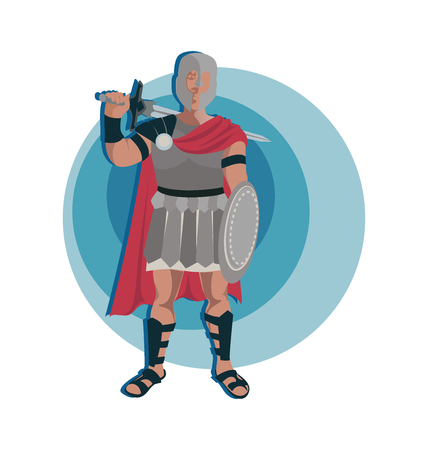 Gladiator Roman warrior character in armor with a sword and shield. Emblem Invitation to travel to Italy, Rome. Design elements for a themed poster.