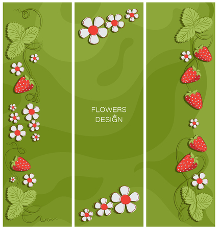 Strawberry glade. Triptych. Flower design. Banner, poster, greeting card design. Place for text, stylized flowers on an abstract background.