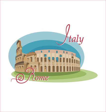 Colosseum is a symbol of Italy. Sight of Rome, isolated on white background. Symbol of the country. Invitation to travel to Italy, Rome. Ilustração