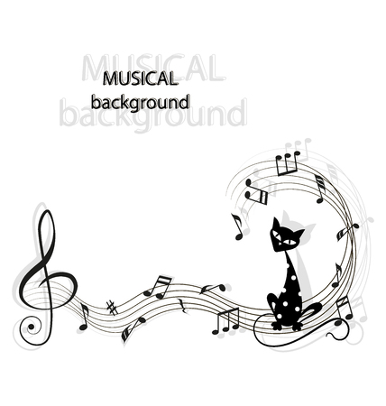 Music, notes and black cat. Cute black cartoon cat with white polka dots. Music background. Иллюстрация