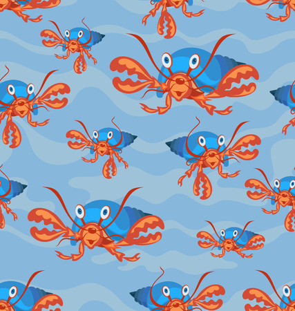 Hermit crab with a sink. Seamless patterns. Design for childrens textiles, background image for packaging materials. Cartoon style