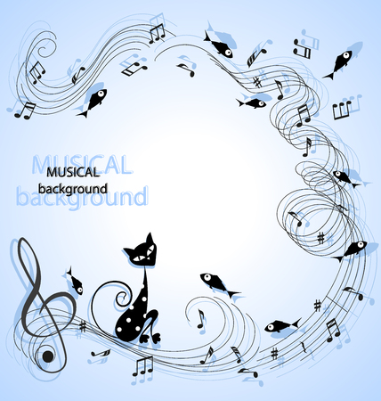 Black cat surrounded by music, notes and fish. Cute black cartoon cat with white polka dots. Music background.