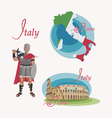 Map of Italy. Rome. Coliseum. Gladiator. Set. Invitation to travel to Italy. Roman warrior character in armor with a sword and shield. Design elements for tourist poster. Image on white background.