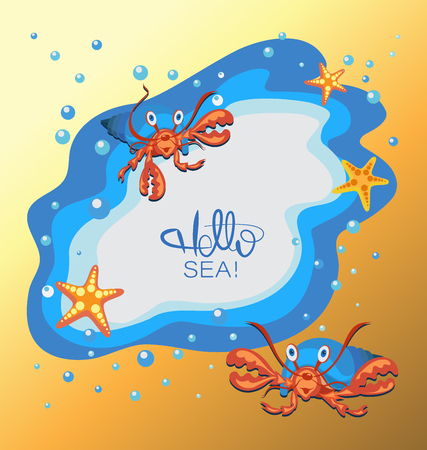 Hello sea Sea, stars and hermit crab. Sea poster. Yellow-orange coast background with water drops. Banner design, poster with place for text.