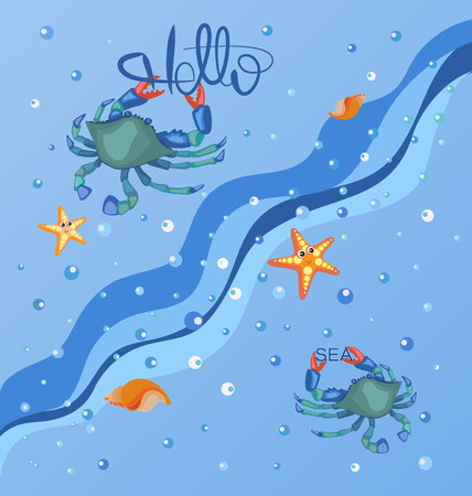 Hello sea. Blue crab, sea and stars. Sea poster. Sea background, sea wave with water drops.