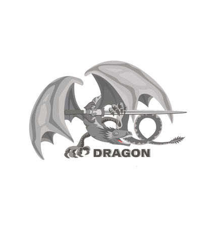 Dragon with a sword. Mythical animal. Design for printing on paper or textile.