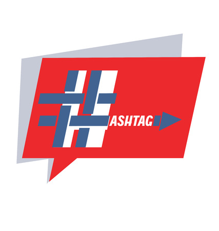 Hashtag in a quote from the speech and inscriptions. Blue and red. For graphic design. Element, blog, social networks, banner, poster. Иллюстрация