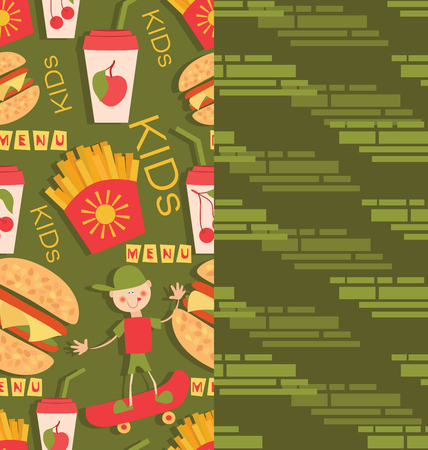 Boy on a skateboard and fast food products. Set of two seamless patterns for children textiles. Background image for the menu of eateries, cafes, shops, design textile and packaging materials. Иллюстрация